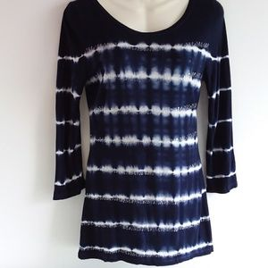 INC Indigo Dye Folded Knit Top w/ Sequin Detail